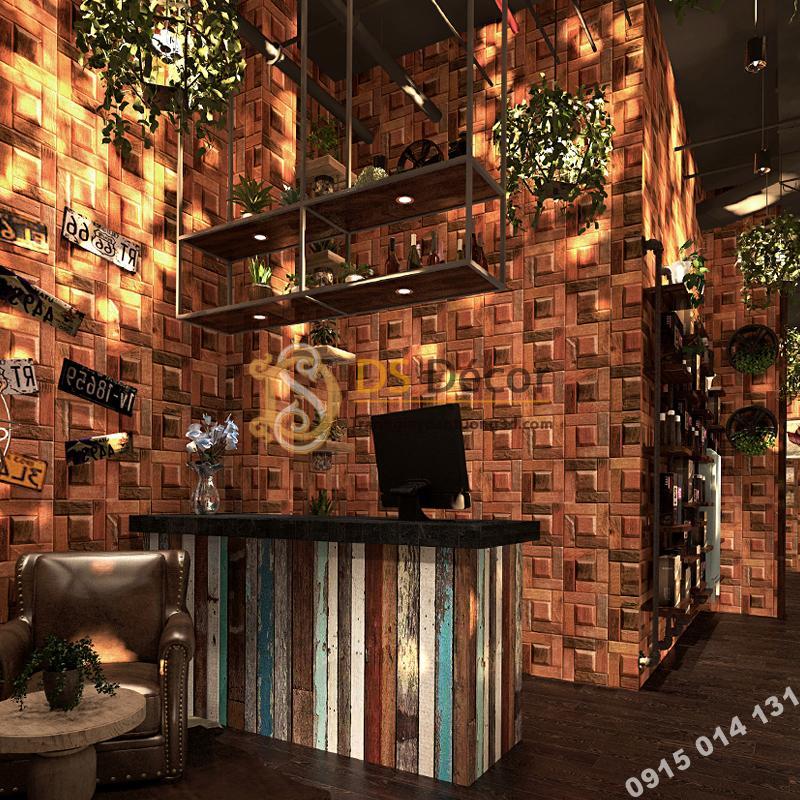 Giấy dán tường giả ụ gỗ nâu 3D234 trang trí quán cafe