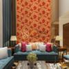 Giay-dan-tuong-hoa-hong-3D232 màu cam phòng khách
