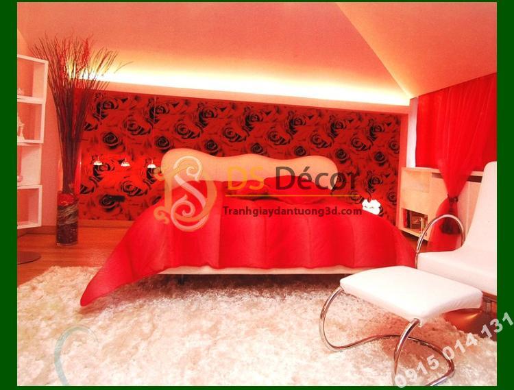 Giấy dán tường hoa hồng 3D232 màu đỏ phòng tân hôn