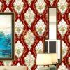 Giấy dán tường họa tiết Damascus Châu Âu màu đỏ 3D236