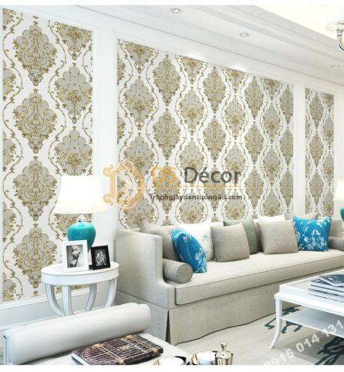 Giấy dán tường họa tiết Damascus Châu Âu màu ghi xám 3D236