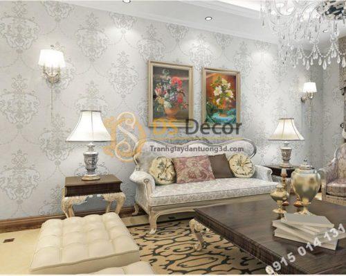 Giấy dán tường họa tiết cánh bướm cổ điển 3D227 màu trắng cho phòng khách