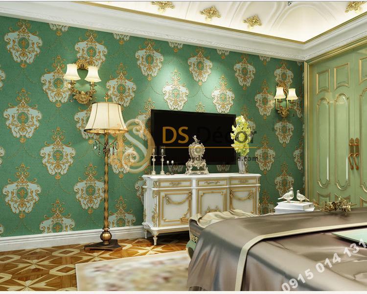 Giấy dán tường họa tiết cánh bướm cổ điển 3D227 màu xanh trang trí phòng khách sạn