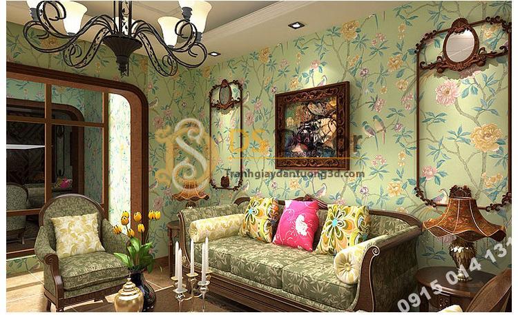 Giấy dán tường họa tiết chim chào mào trong vườn hoan 3D226 màu xanh