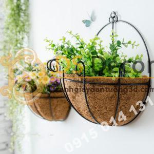 Lẵng hoa rơm trang trí quán cafe trà sữa DC04 - 01