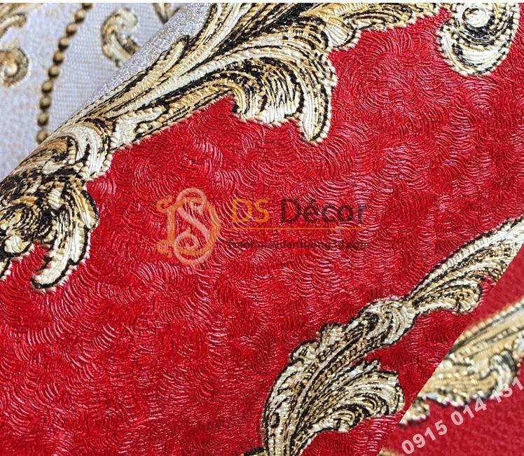 Mat Giấy dán tường họa tiết Damascus Châu Âu màu đỏ 3D236