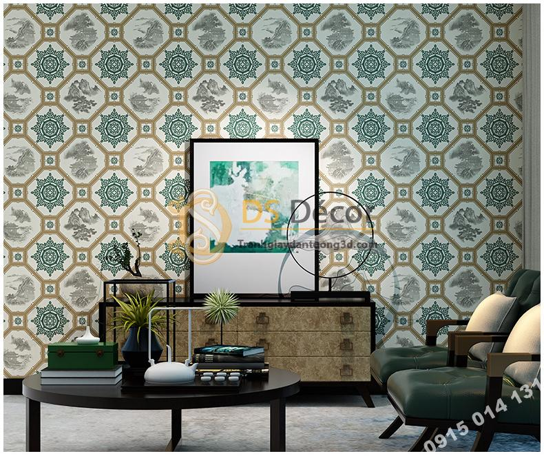Giấy dán tường giả gạch men cổ màu xanh rêu 3D237