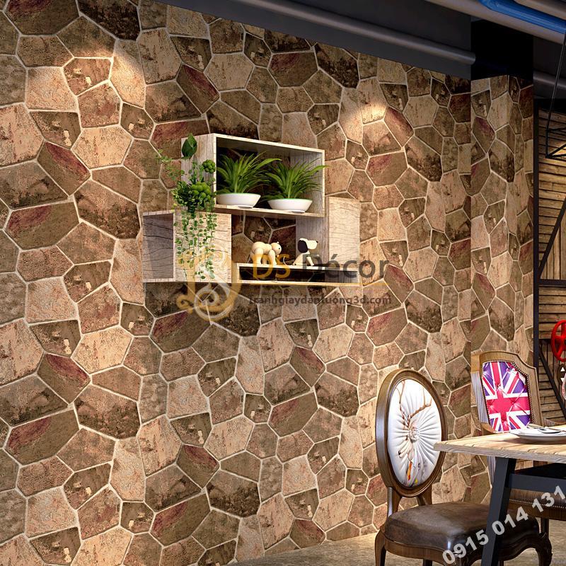 Giấy dán tường giả đá nâu trang trí quán cafe 3D238