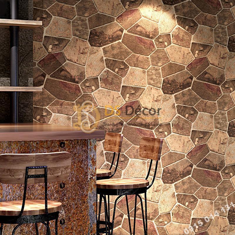 Giấy dán tường giả đá nâu trang trí quán rượu 3D238
