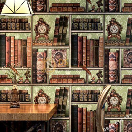 Giấy dán tường giả kệ sách cổ điển 3D240