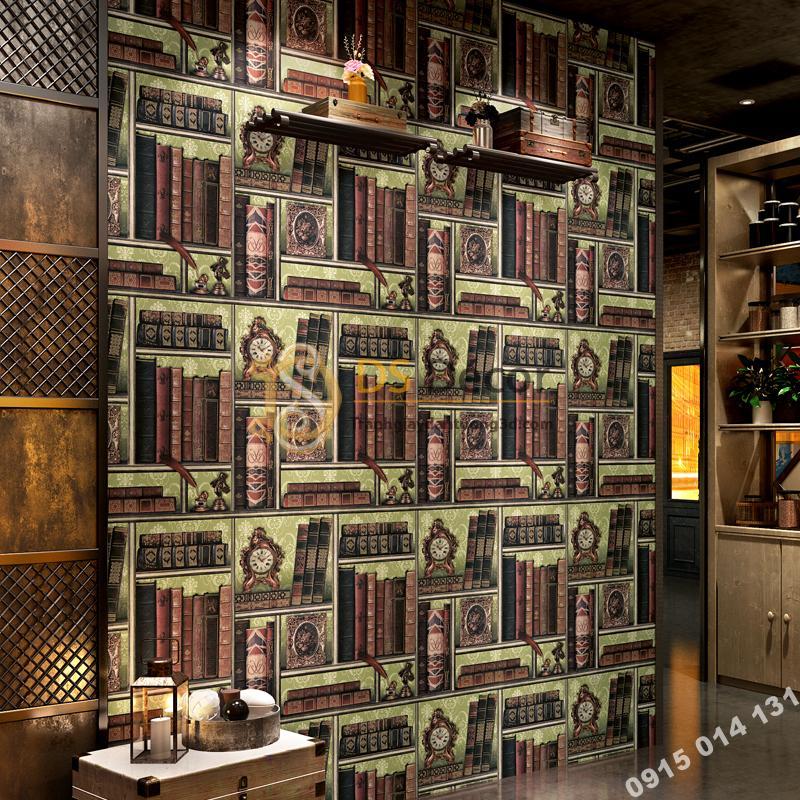 Giấy dán tường giả kệ sách cổ điển 3D240 trang trí quán cafe