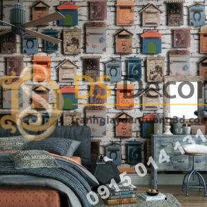 Giấy dán tường họa tiết chuồng chim bồ câu 3D241 trang trí phòng ngủ