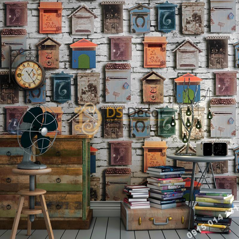 Giấy dán tường họa tiết chuồng chim bồ câu 3D241 trang trí quán cafe