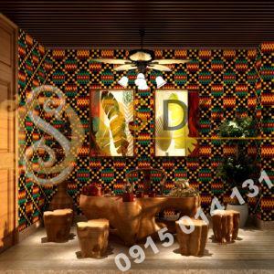 Giay dan tuong hoa tiet tho cam Thai Lan 3D242 trang tri quan cafe