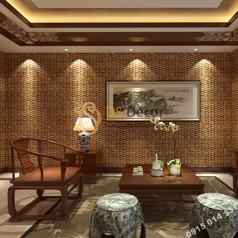 Giấy dán tường tre đan thủ công mỹ nghệ 3D239 màu đậm phòng khách
