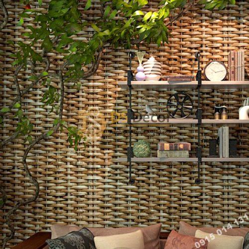 Giấy dán tường tre đan thủ công mỹ nghệ 3D239 màu nhạt