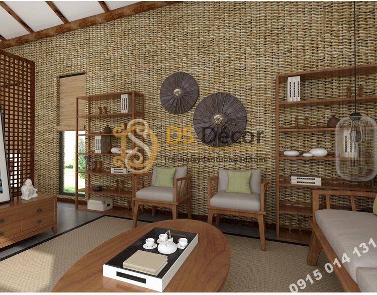 Giấy dán tường tre đan thủ công mỹ nghệ 3D239 màu nhạt phòng khách