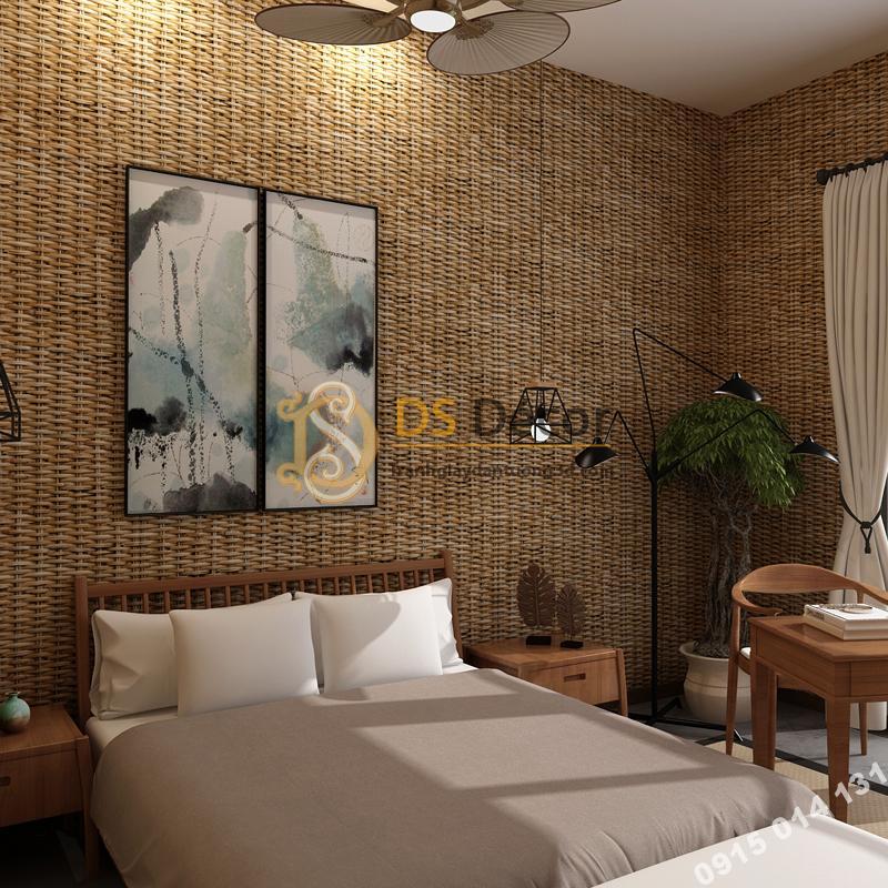 Giấy dán tường tre đan thủ công mỹ nghệ 3D239 màu nhạt phòng ngủ