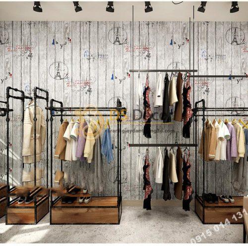 Giay dan tuong go xam hoa tiet con dau thap eiffel 3D250 - 88701A dán shop quần áo