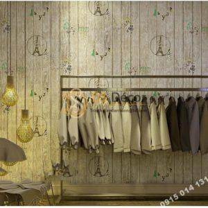 Giay dan tuong go xam hoa tiet con dau thap eiffel 3D250 - 88703A dán shop quần áo