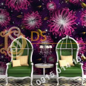 Giay dan tuong hoa kho lon cho Spa 3D249 mau hong