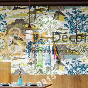Giay dan tuong phong cach Nhat Ban 3D245 mau xanh vang