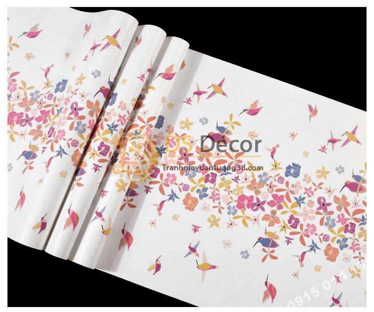 Bề mặt Giấy dán tường họa tiết chim hút mật hoa 3D259 màu hồng
