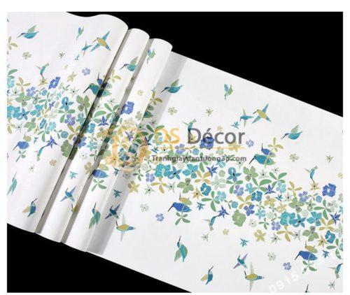 Bề mặt Giấy dán tường họa tiết chim hút mật hoa 3D259 màu xanh