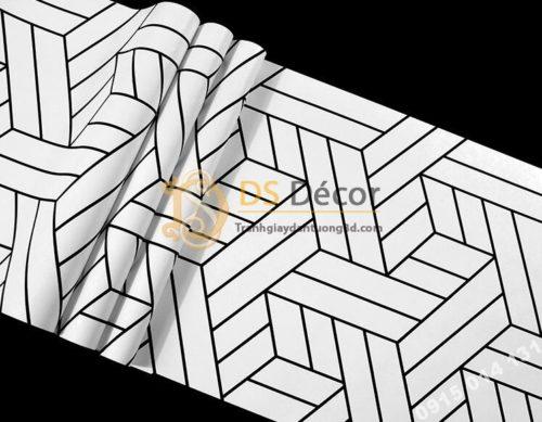 Bề mặt Giấy dán tường kẻ sọc đen trắng đan chéo 3D257