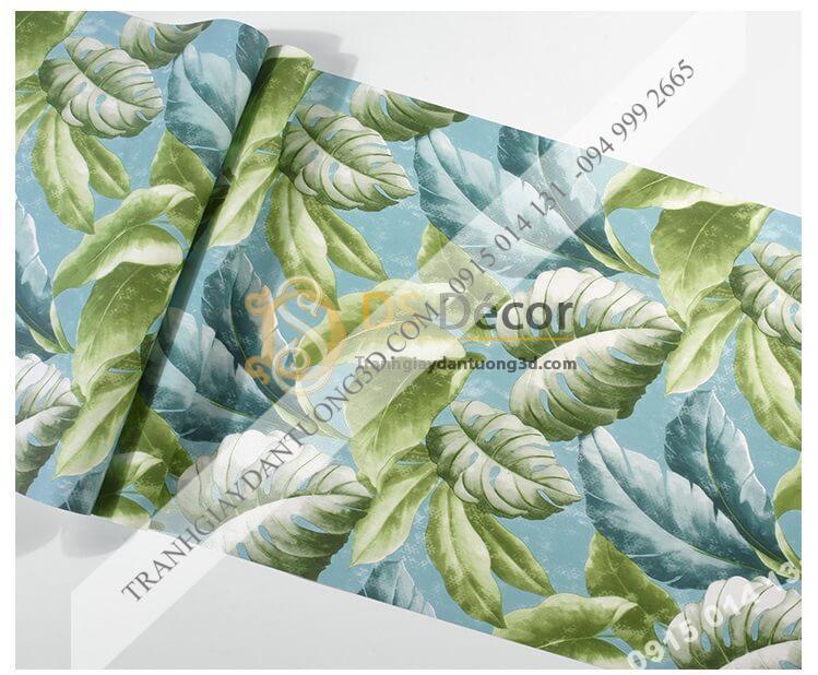 Bề mặt Giấy dán tường lá chuối xanh 3D258
