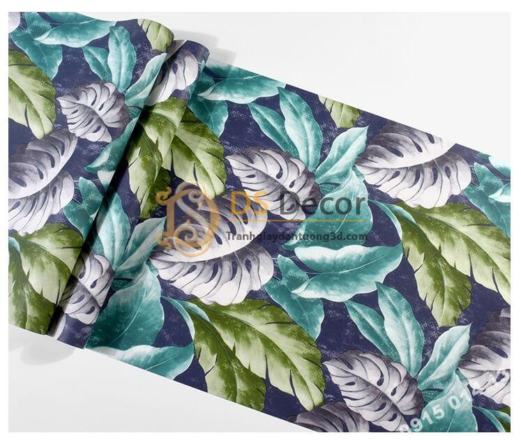 Bề mặt Giấy dán tường lá chuối xanh tím 3D258 trang trí phòng khách