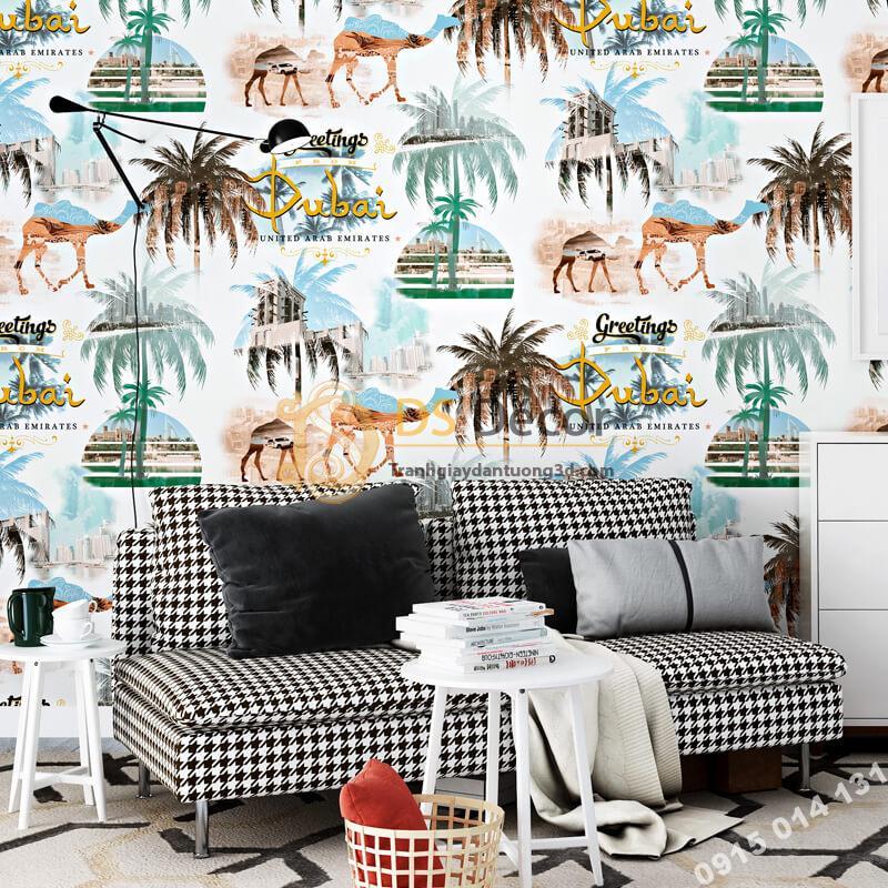 Giấy dán tường họa tiết Dubai sa mạc 3D260 dán phòng khách