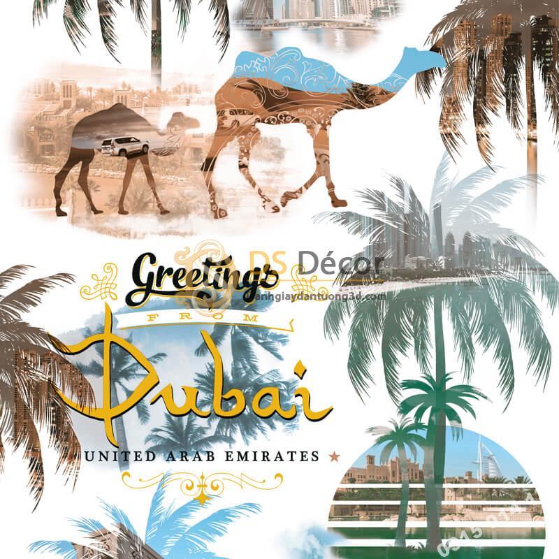 Giấy dán tường họa tiết Dubai sa mạc 3D260