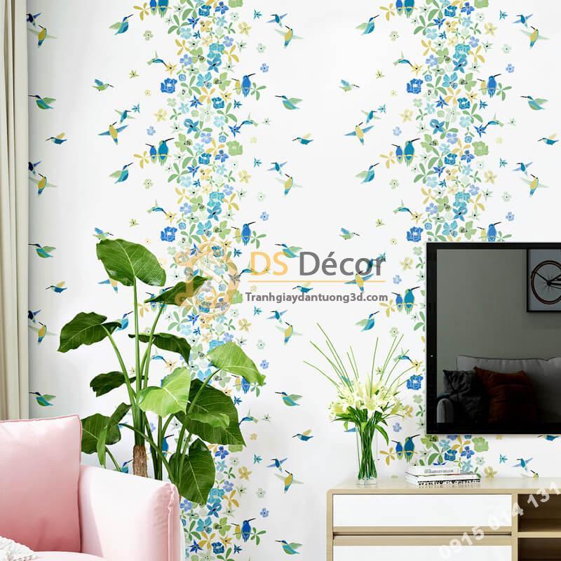 Giấy dán tường họa tiết chim hút mật hoa 3D259 màu xanh dán phòng khách
