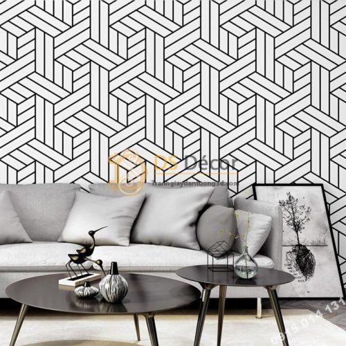 Giấy dán tường kẻ sọc đen trắng đan chéo 3D257
