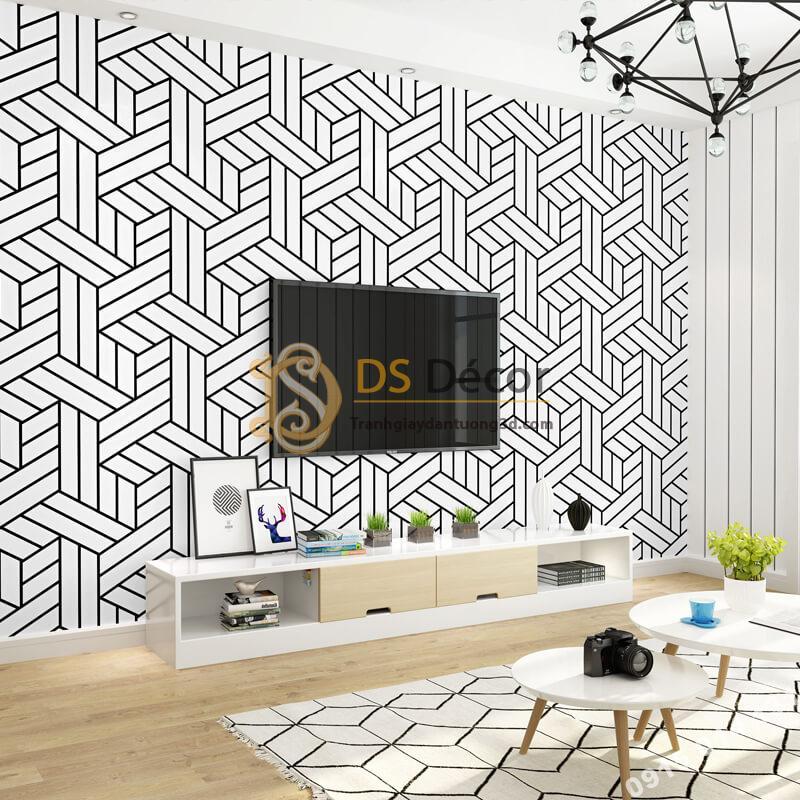Giấy dán tường kẻ sọc đen trắng đan chéo 3D257 dán phòng khách