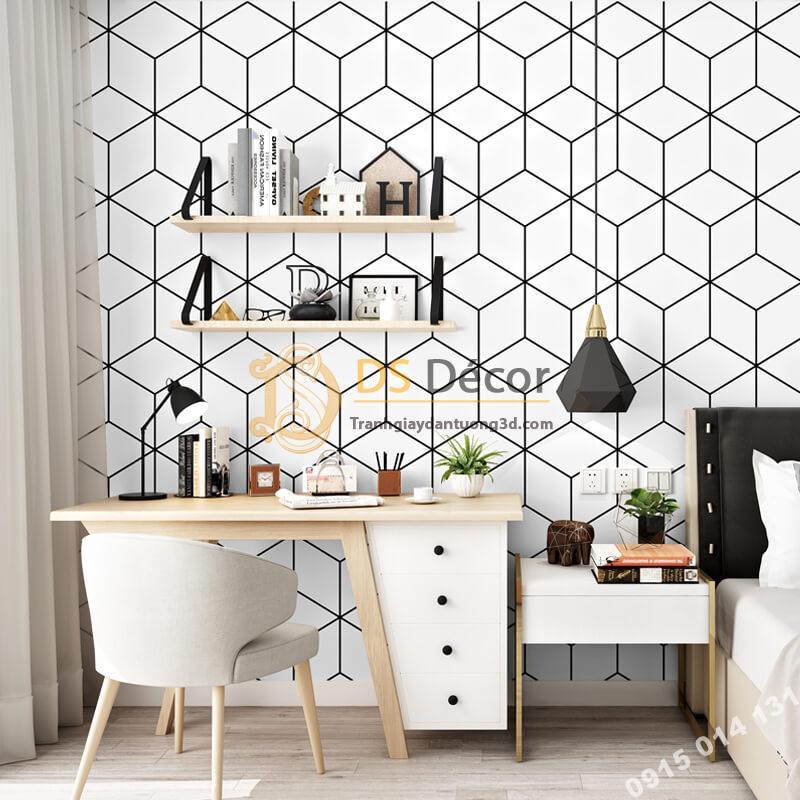 Giấy dán tường khôi vuông đen trắng 3D256 phòng học làm việc