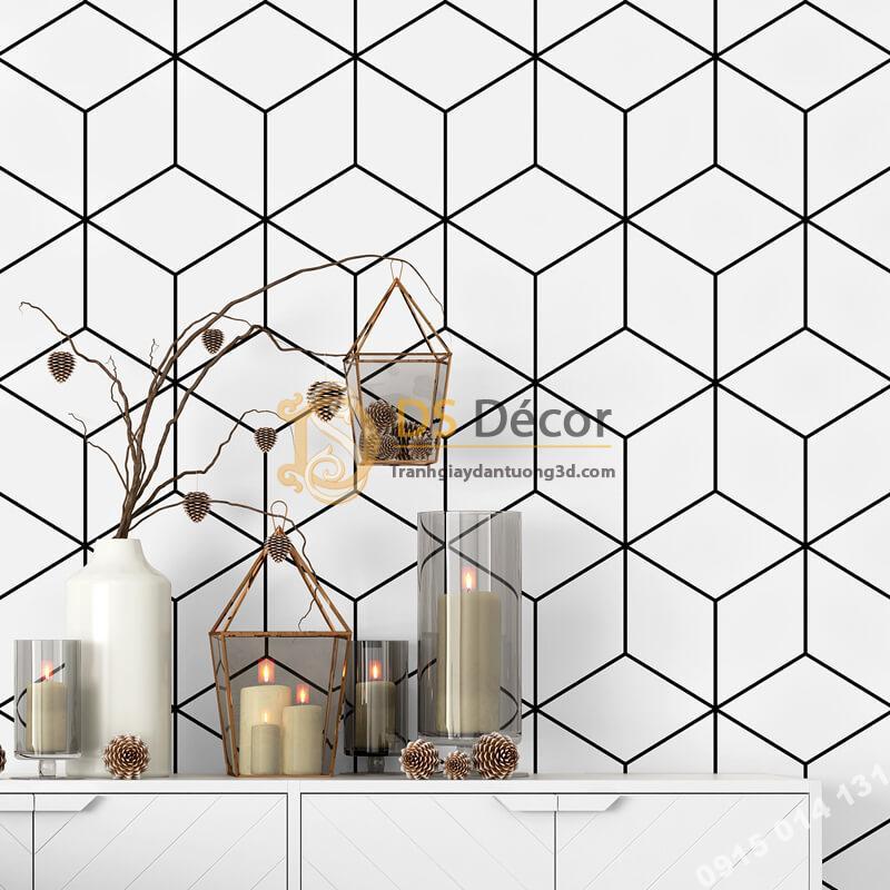 Giấy dán tường khôi vuông đen trắng 3D256