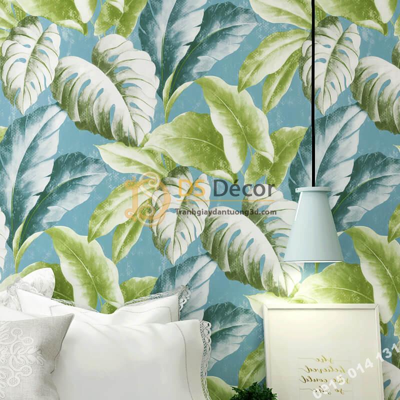 Giấy dán tường lá chuối xanh 3D258