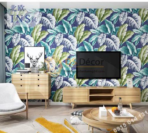 Giấy dán tường lá chuối xanh tím 3D258 trang trí phòng khách