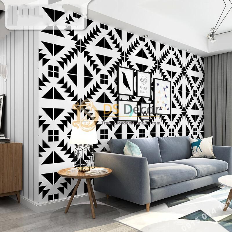 Giấy dán tường trắng đen đối xứng 3D255 phong khách
