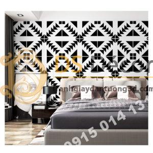 Giấy dán tường trắng đen đối xứng 3D255 phong ngu