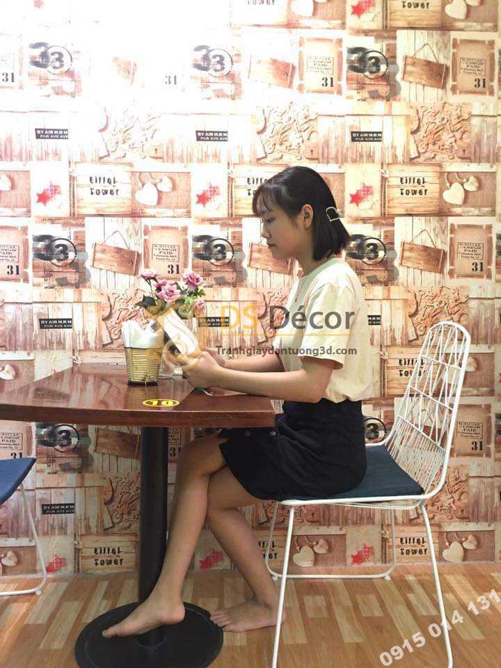 Mẫu giấy dán tường giả gỗ vintage 3D55 quán trà sữa cafe