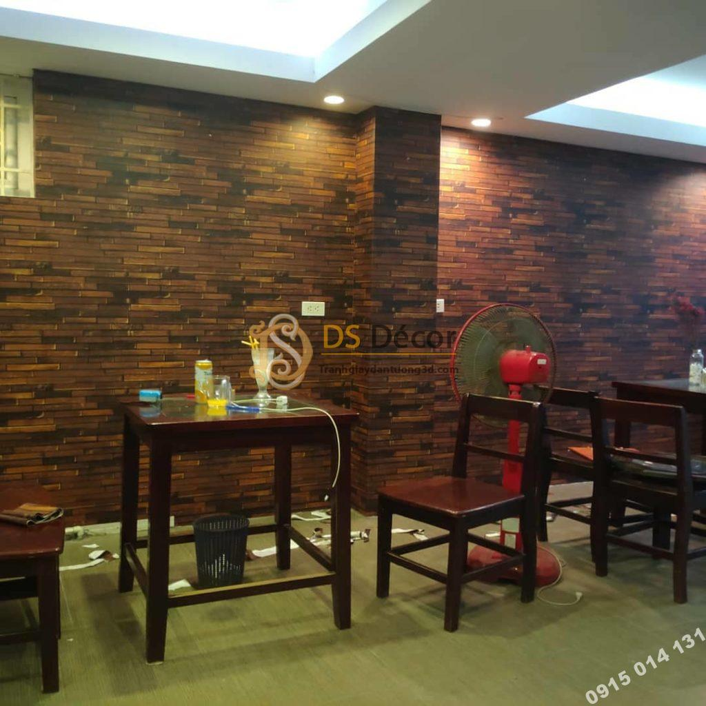 Giấy dán tường gỗ nâu hầm rượu 3D230