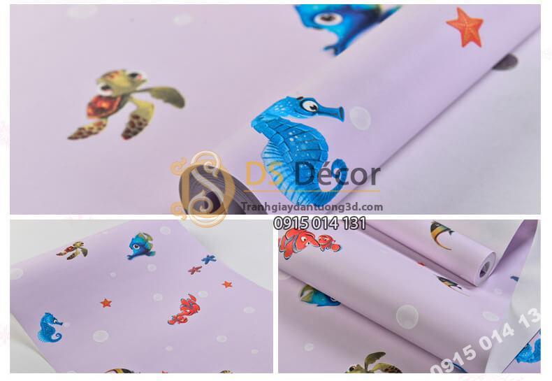 Bề mặt Giấy dán tường cá biển phòng trẻ em 3D269 màu hồng