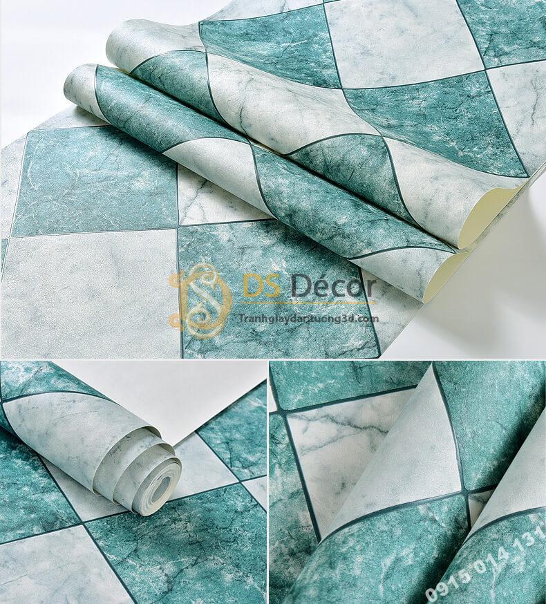 Bề mặt Giấy dán tường gạch caro 3D268 màu xanh