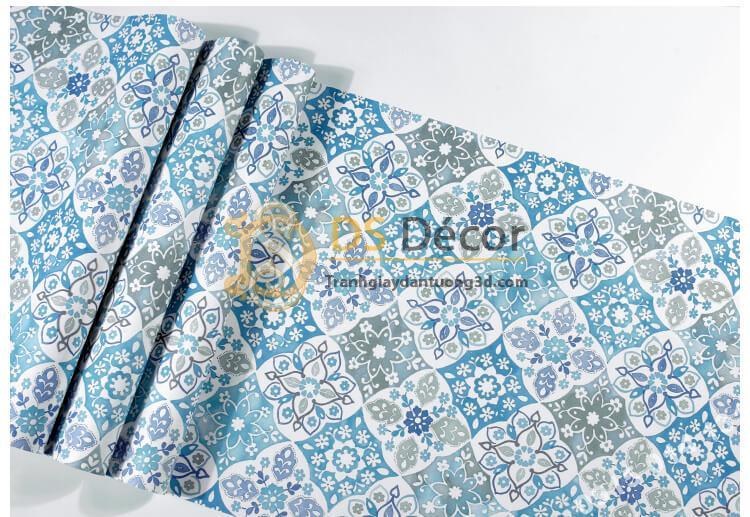 Bề mặt Giấy dán tường giả gạch bông kiểu bohemiang 3D267 màu xanh