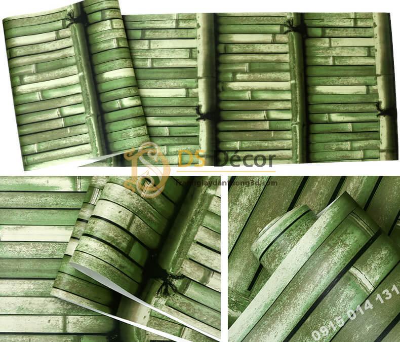 Bề mặt Giấy dán tường giả tường tre xưa 3D266 màu xanh lá cây