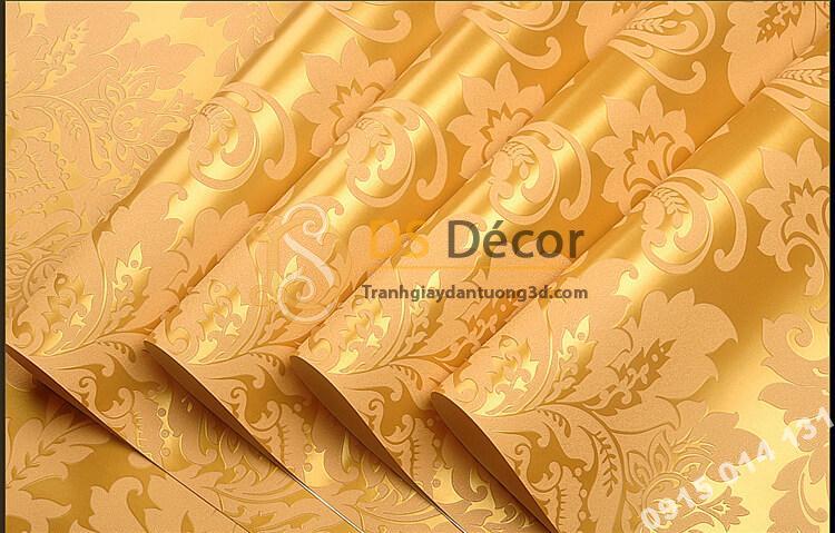 Bề mặt Giấy dán tường hoa châu âu cổ điển 3D273 màu vàng
