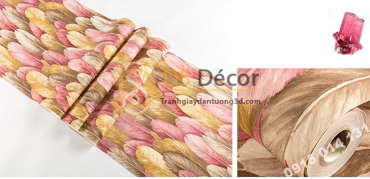 Bề mặt Giấy dán tường lông vũ 3D264 màu hồng